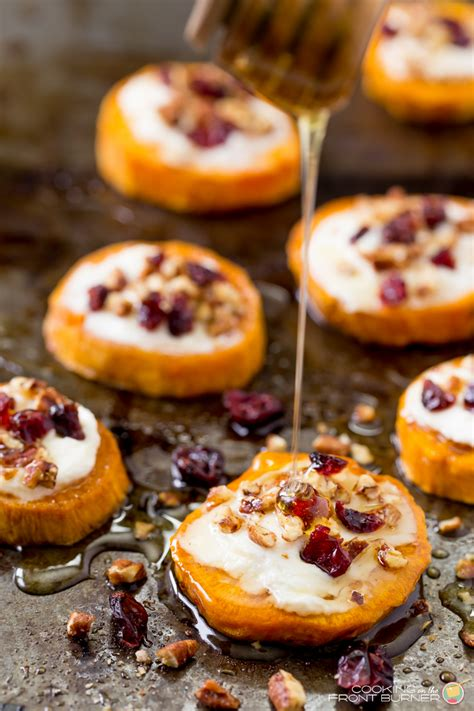 appetizers sweet sweet potato goat cheese appetizer cooking on the front