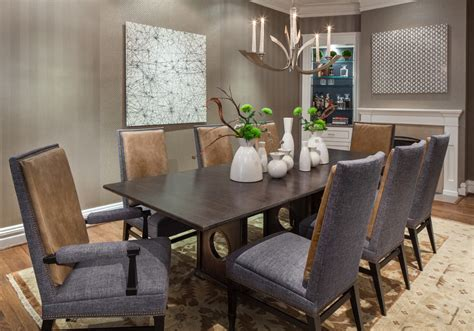 designer dining room tables with transitional wallpaper