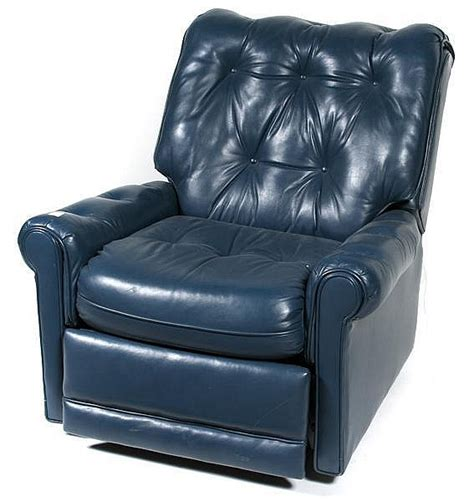 Blue Recliner Leather Recliner Circa 1990 S Blue Leather Fabric Tag Cr