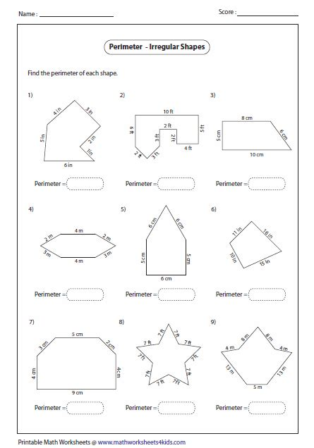 printable shapes to measure perimeter perimeter worksheets 5th grade free worksheets library