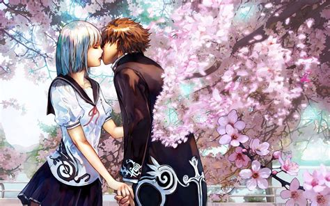 download wallpaper anime couple cute anime couple kiss hd wallpaper one hd wallpaper