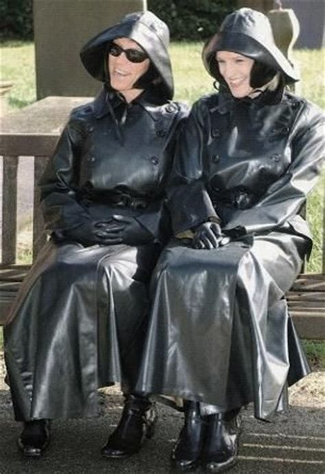 plastic mac stories two well dressed ladies in their sbr macs and souwesters