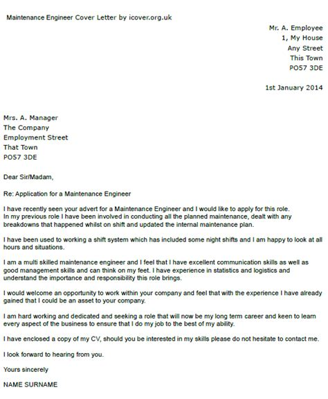 cover letter for application for engineers maintenance engineer cover letter exle icover org uk