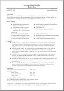 Sle Resume For Entry Level Claims Adjuster Claims Adjuster Resume Sles Resume Format 2017
