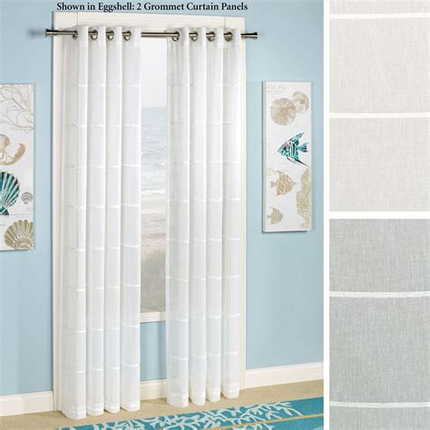 striped sheer curtain panels horizon stripe semi sheer grommet curtain panels