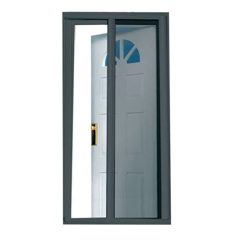 seasonguard 40 in x 97 5 in charcoal retractable screen door k 397558 the home depot
