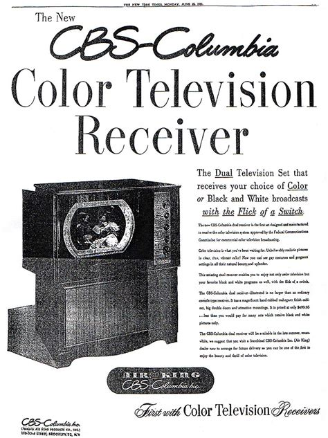when was color tv introduced televisores quot cbs columbia quot 1959 arkivperu