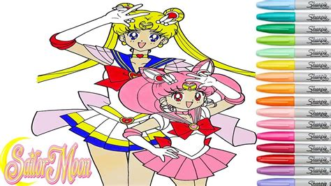 sailor moon coloring book sailor moon coloring book pages chibiusa anime rainbow