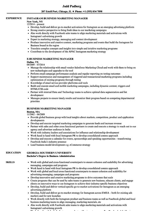 Marketing Resume Sle by Sle Resume For Marketing Manager 28 Images Marketing