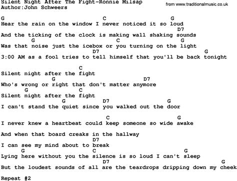 printable lyrics silent night country music silent night after the fight ronnie milsap