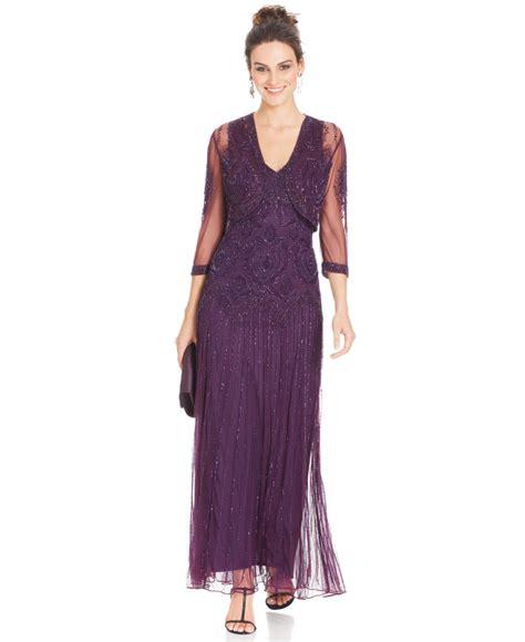 Maxi Dress Dalia Purple Belt Citra lyst pisarro nights beaded drop waist gown and jacket in