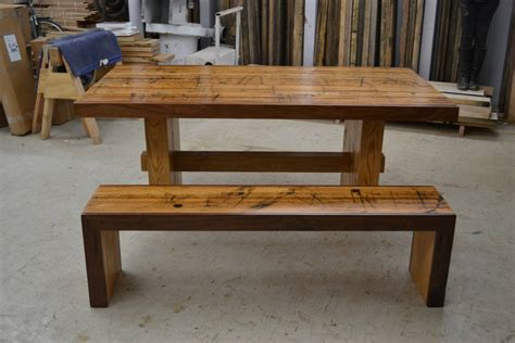 table and bench set dining set reclaimed solid oak table and matching bench by wicked boxcar