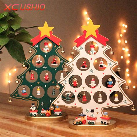 christmas desk decoration ideas 1pc diy cartoon wooden christmas tree decoration christmas