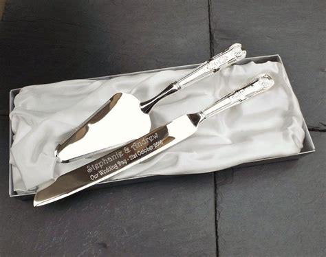 Wedding Gift Knife by Silver Plated Cake Knife And Server Set Personalised
