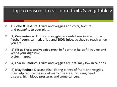 8 Reasons To Eat More Vegetables by Ppt Nutrition 101 Powerpoint Presentation Id 851283