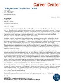 Cover Letter For Undergraduate by Sle Cover Letter How To Write A Cover Letter