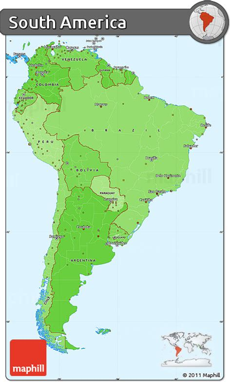 america map simple free political shades simple map of south america