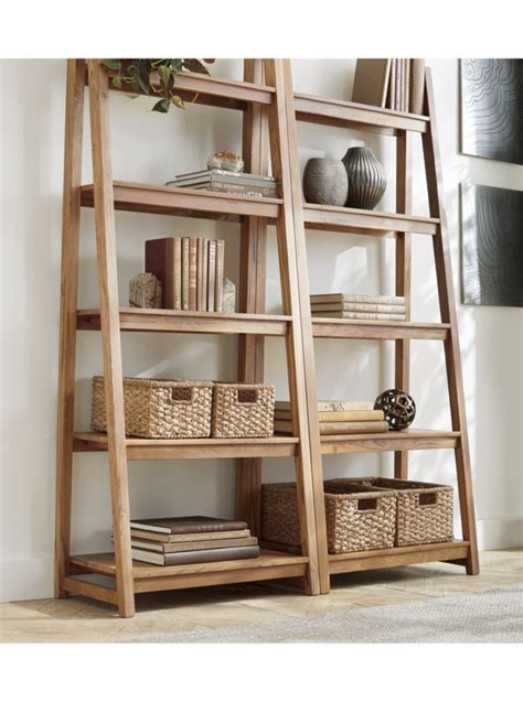 strut teak bookcase   products wooden crate
