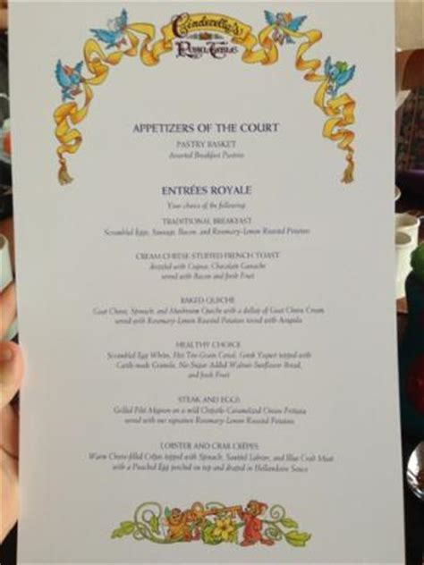 Table Menu Prices by New Menu Picture Of Cinderella S Royal Table Orlando