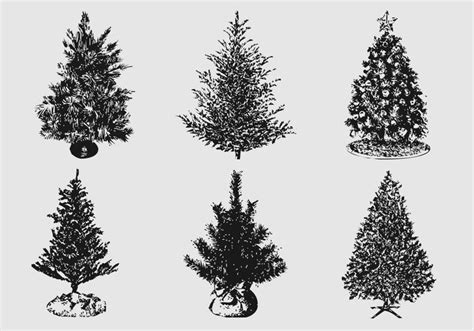silhouetted christmas tree brushes and psd pack free