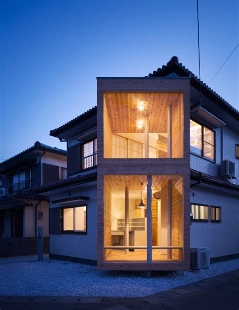 designboom japanese house container design protrudes timber volume from traditional
