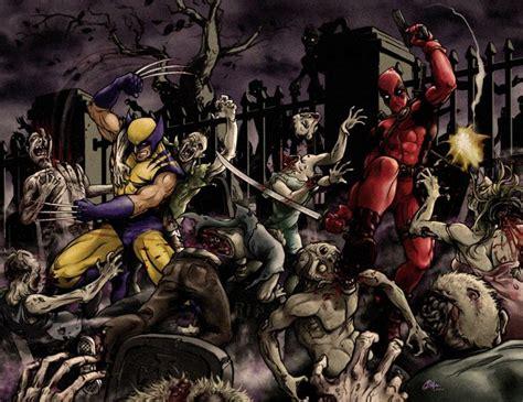deadpool in wolverine deadpool and wolverine vs zombies marvel comics