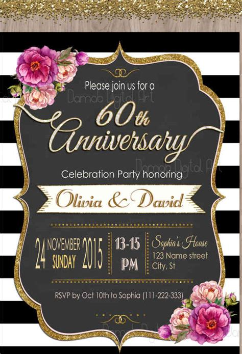 60th anniversary invitations templates 9 anniversary party invitations designs templates free premium templates