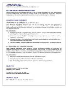 Sle Resume For Loan Processor by Exle Loan Processor Resume Free Sle