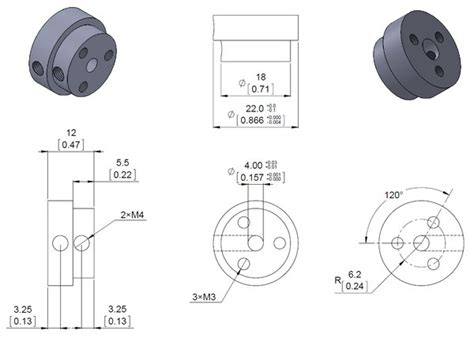 wheel dimensions diagram pololu aluminum scooter wheel adapter for 4mm shaft
