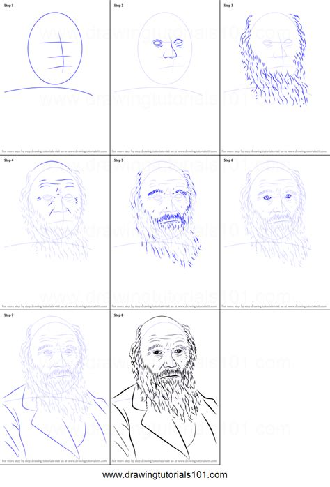 how to draw charles darwin printable step by step drawing sheet drawingtutorials101