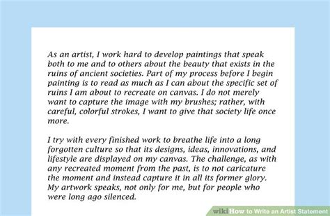 how to write art 4 ways to write an artist statement wikihow
