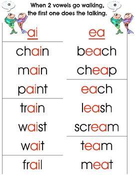 Vowel Teams Worksheets by Phonics Vowel Teams Two Vowels Walking By Real Reading