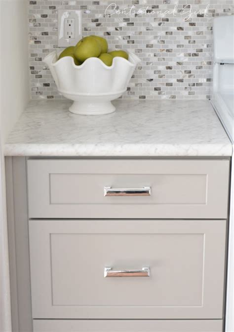 polished chrome cabinet hardware gray white kitchen remodel centsational style