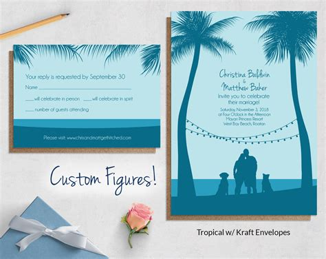 tropical wedding invitation sets tropical wedding invitations with custom figures