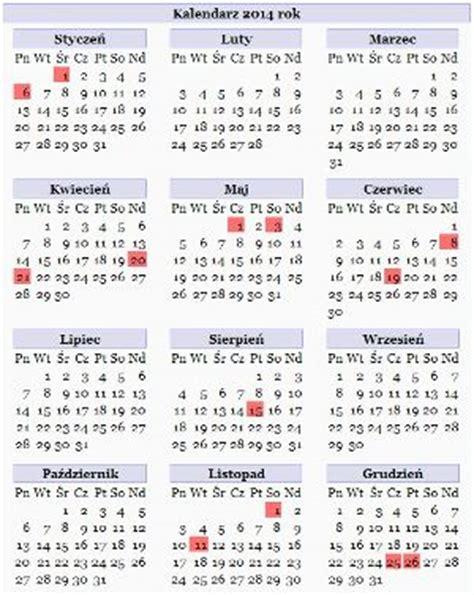 Kalendarz Z Dniami Wolnymi 2018 Kalendarz Na Rok 2014
