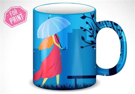 Free Umbrella Girl Mug Cup Template Vector Titanui Mug Design Template