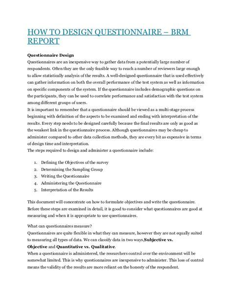 design questionnaire how to design questionnaire