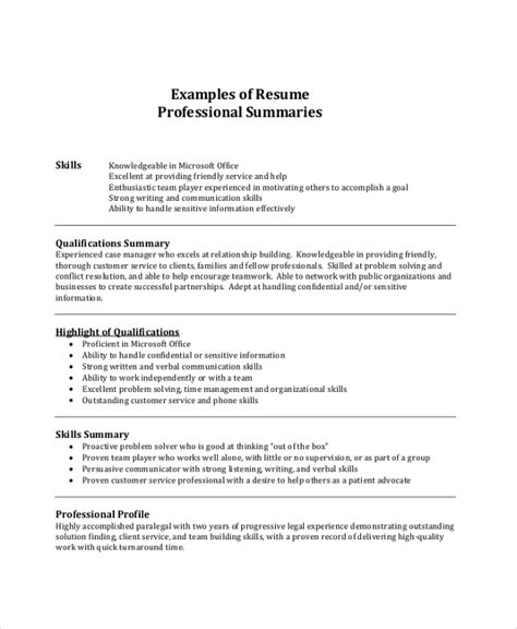 Resume Summaries by 8 Resume Summary Sles Exles Templates Sle
