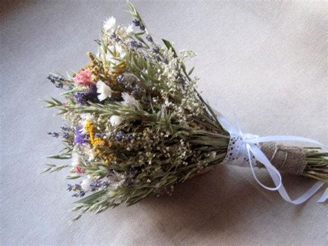 Meadow Country Wedding Dried Flower Bouquet For Rustic From The Garden Dried Flowers