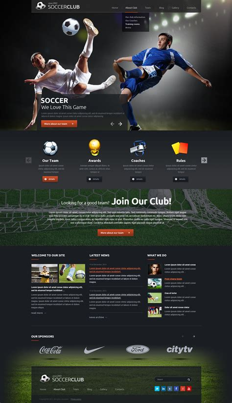 Templates For Football Website | football wordpress theme sport website template gridgum