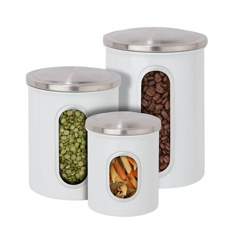 Window Canister Package honey can do 3 pack metal storage canisters in white kch