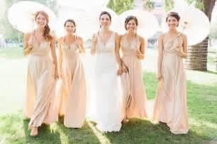 Nude ivory long convertible bridesmaids dress deer pearl flowers