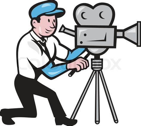 film cartoon com illustration of a cameraman movie director with vintage