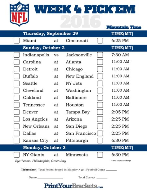 printable nfl schedule for this week mountain time week 4 nfl schedule 2016 printable