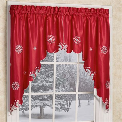 christmas curtains ideas metallic snowflake red holiday window valances