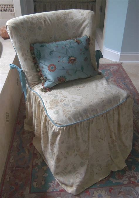 slipcovered chairs shabby chic shabby chic vanity chair slipcover