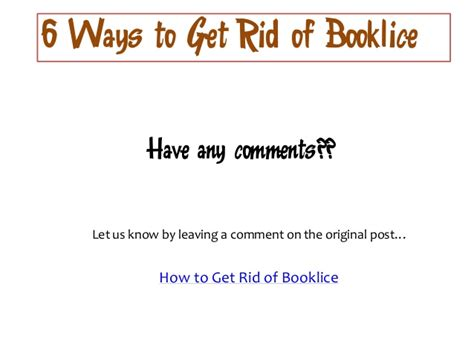 6 ways to get rid of booklice