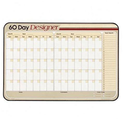 60 Day Calendar Visual Organizer Erasable Wall Calendar 60 Day Grid
