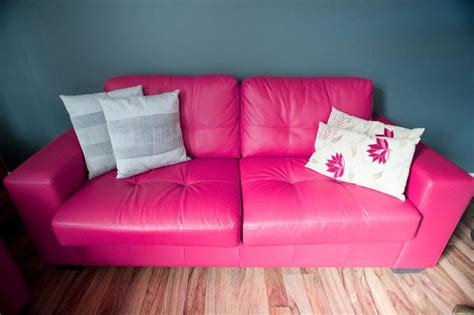 pink leather couch free image of stylish pink leather sofa