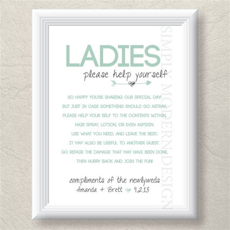 wedding reception bathroom basket poem bathroom basket sign both genders rustic by